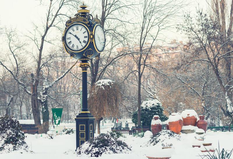 Clock tower in Cismigiu park, Bucharest in winter season
