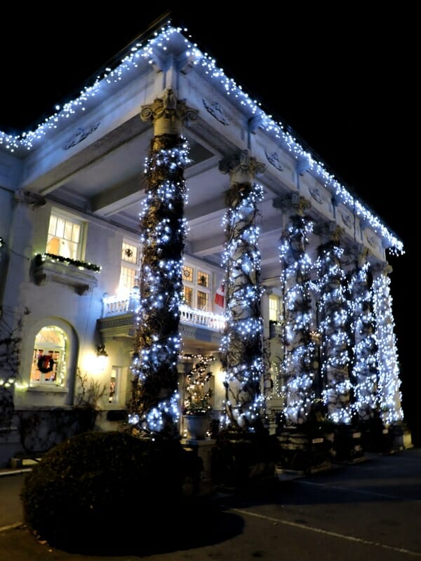 Hycroft Manor at Christmas with lights, Vancouver_