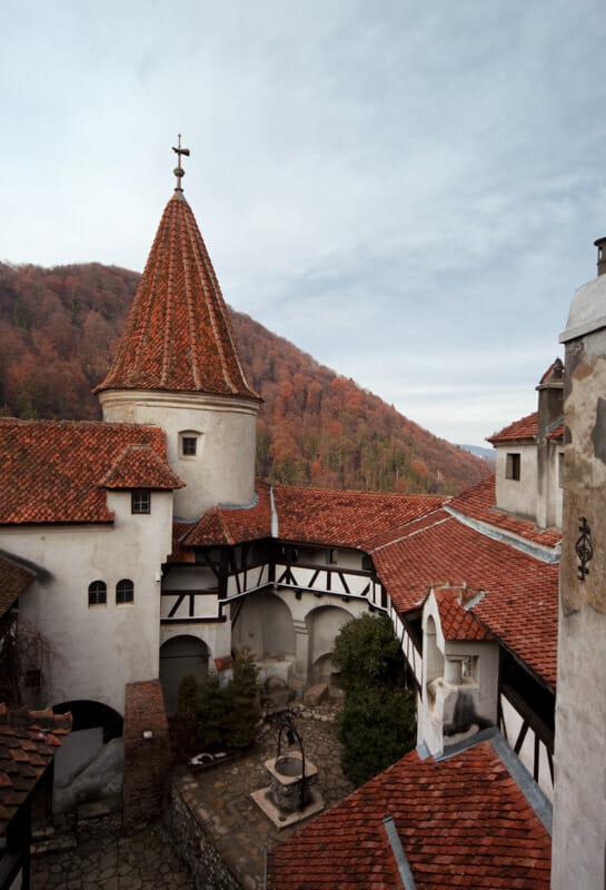 Inside Bran Castle walls Romania
