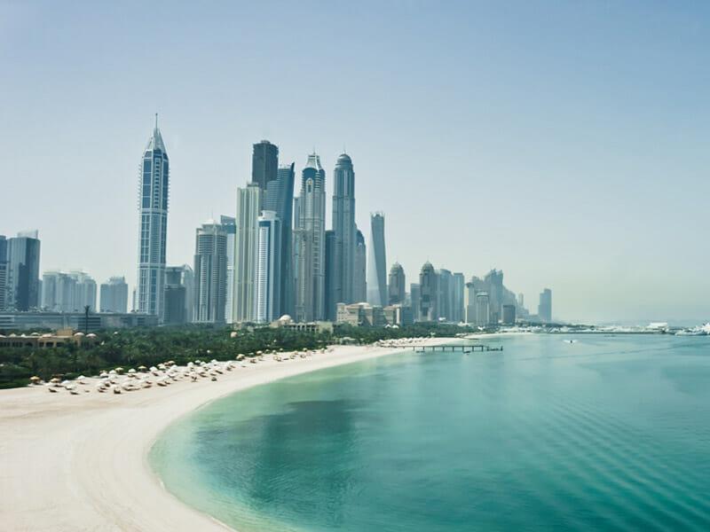 Dubai travel tips - Jumeirah District Dubai Beach with skyline