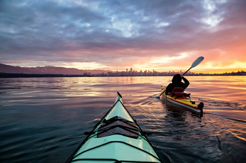 Kayak at sunset in Vancouver_
