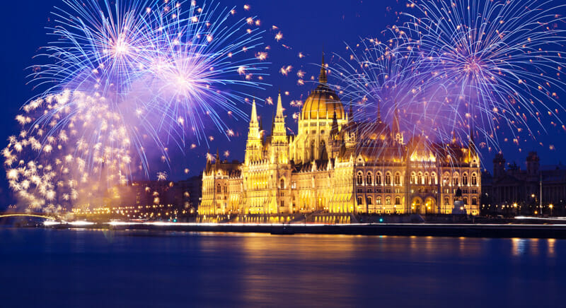 New year in Budapest Parliament fireworks