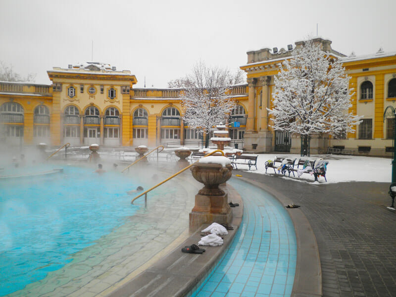 Szechenyi Baths Snow Budapest