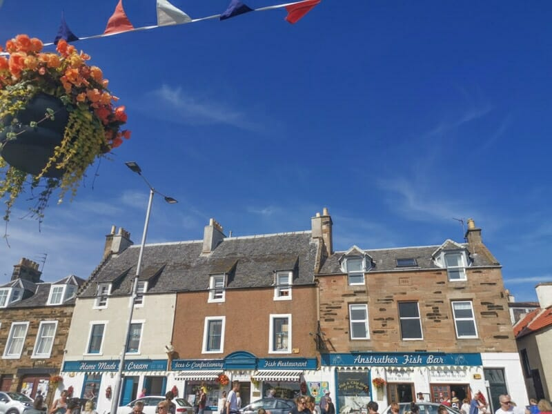 Busy Anstruther chip shop on sunny day