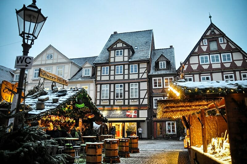 Snow at Celle Christmas Market Germany