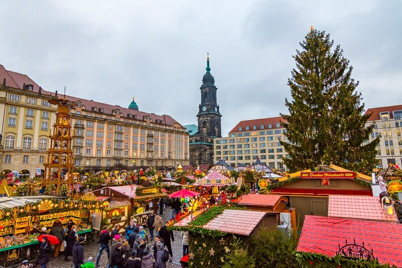 Dresden Christmas Market during daylight with crowds