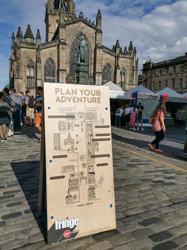 Edinburgh Fringe sign on Royal Mile_