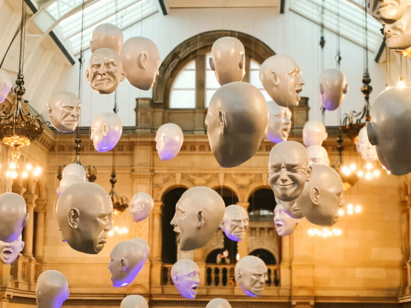 Floating Heads Installation by Sophie Cave at Glasgow Kelvingrove Museum