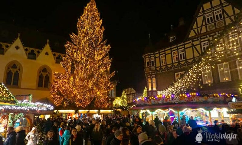 Goslar Christmas Market at night with crowds