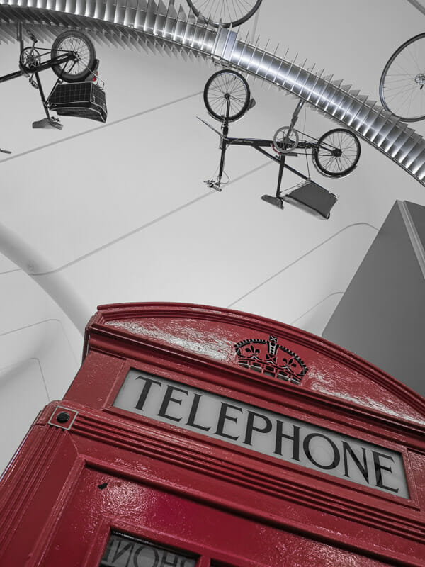 Telephone Box and bikes at Glasgow Rivercylde Museum_