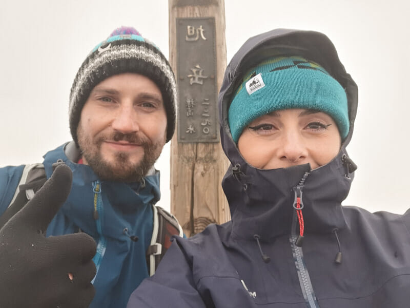 Mt Asahidake Craig and Gemma at Summit_