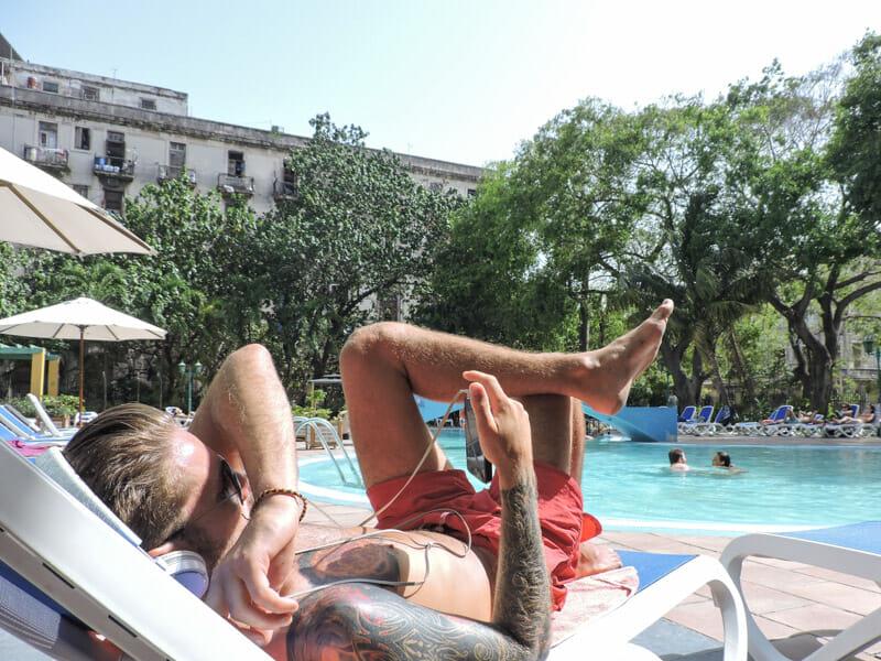 Havana Pool Craig Using WiFi on Phone
