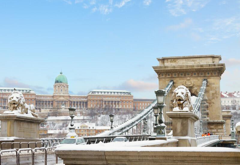Szechenyi Chain Bridge Snow Budapest