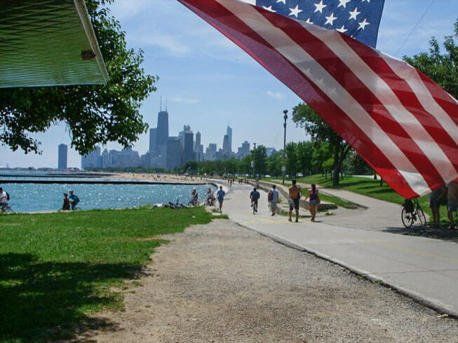 Chicago Beach with USA Flag