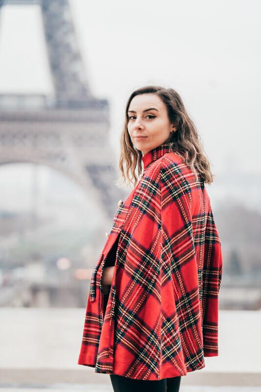 Gemma Eiffel Tower tartan cape