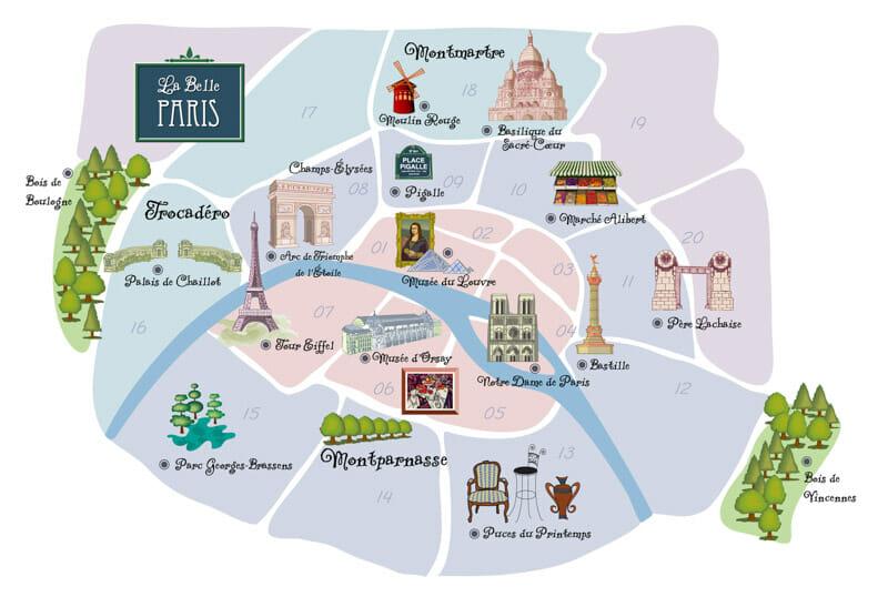 Paris Arrondissement Map Districts in Paris
