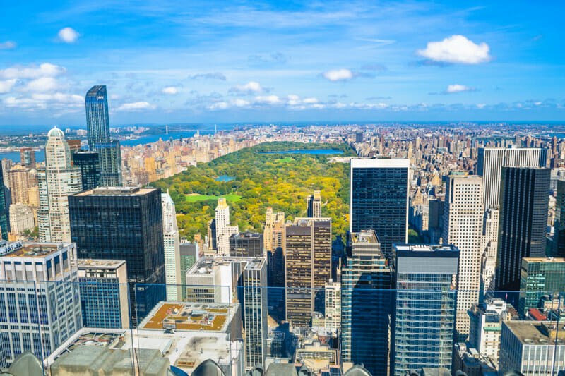 Beautiful skyline of Central Park and New York city from Rockefeller Observatory - Top of the Rock - New York, USA
