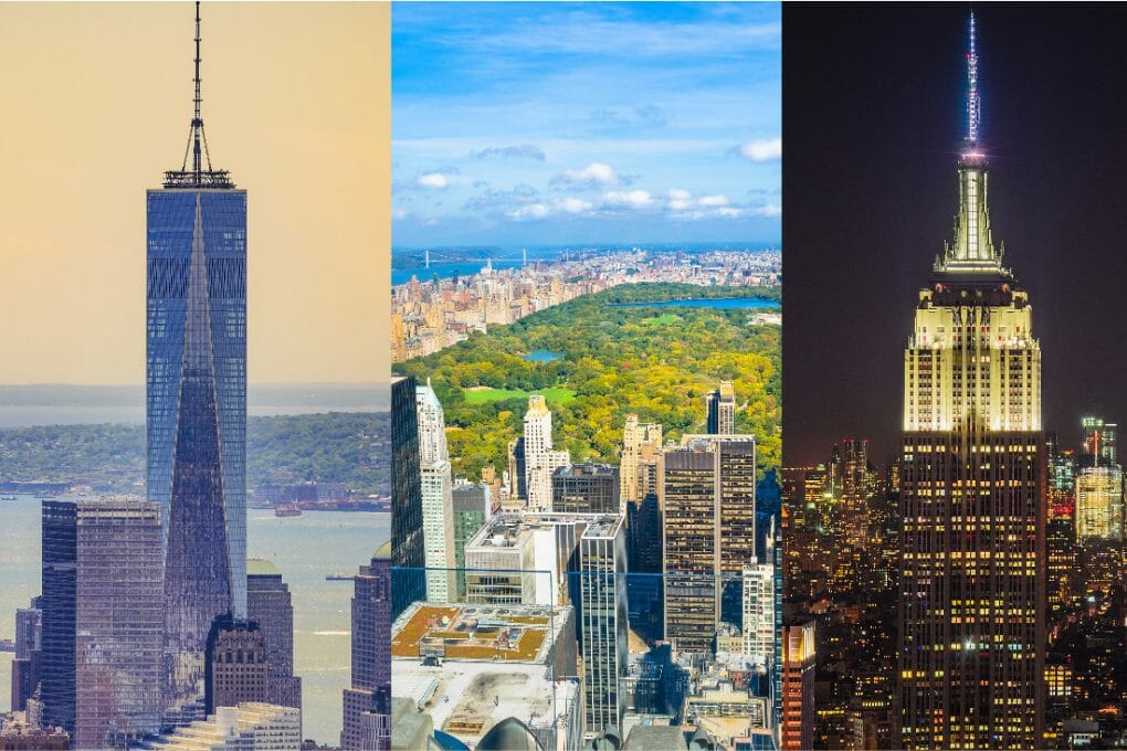 Best Observation Decks in New York. Empire State Building. Top of the Rock. One World Observatory._