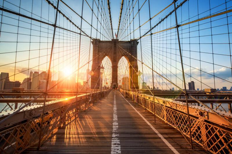 Brooklyn Bridge Sunset Sunrise New York