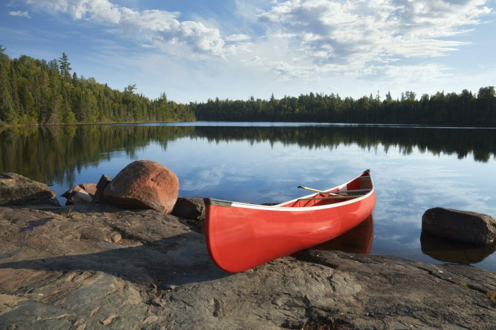 canoe on the edge of Boundary Waters in Minnesota