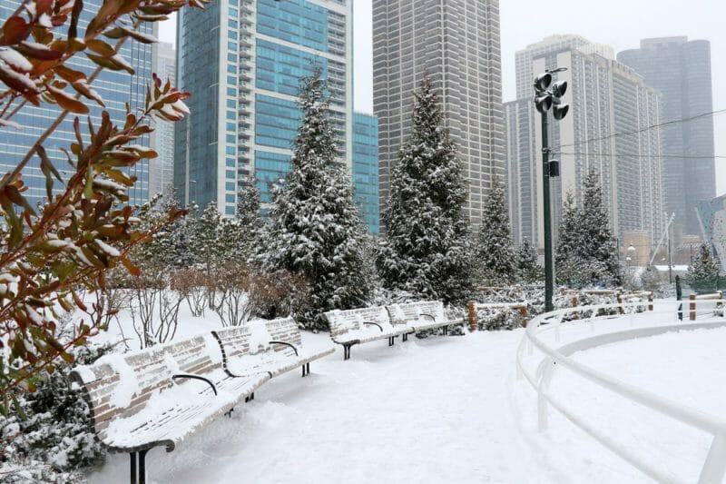 Chicago in December in Winter_