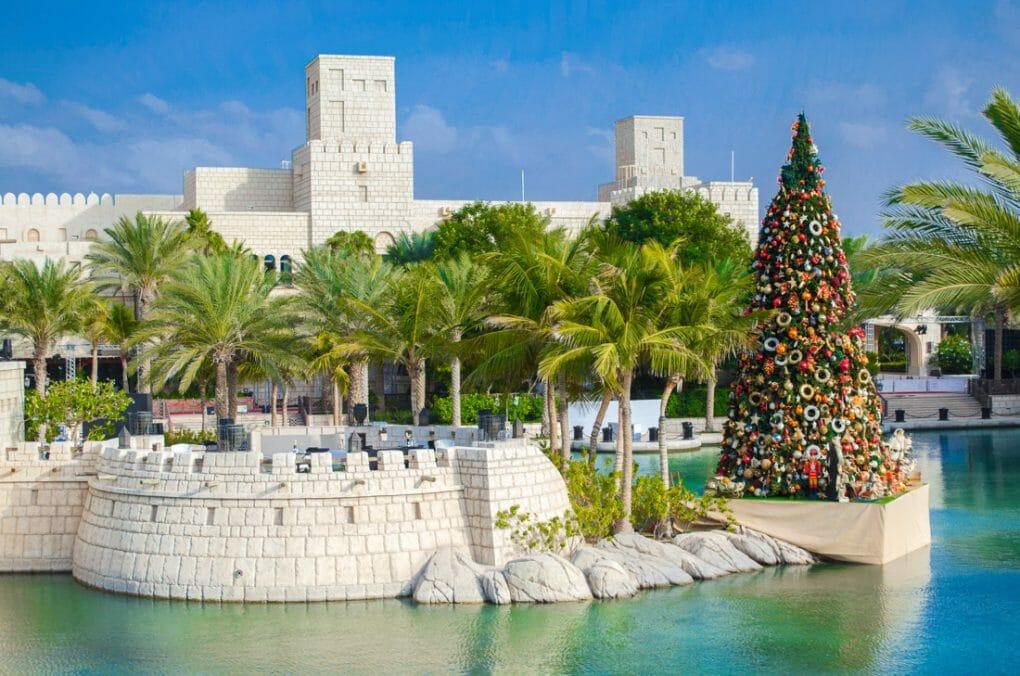 Dubai in December. Christmas tree in Madinat Jumeirah, Dubai