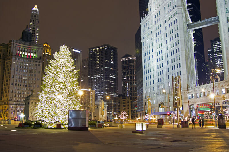Christmas Tree Magnificent Mile Chicago