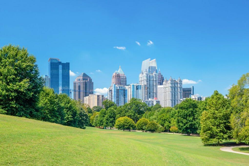 Atlanta skyline view with blue skies