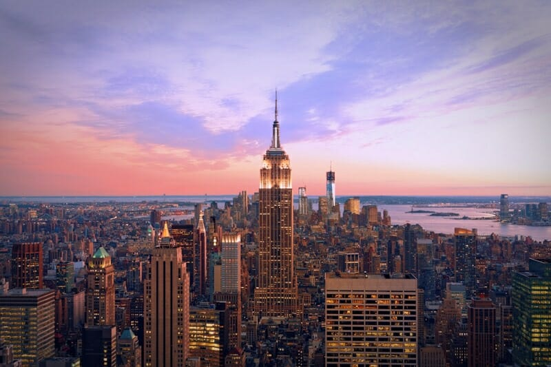 New York city at twilight. NYC