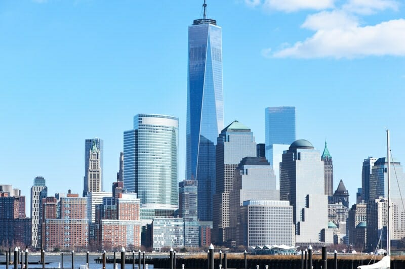 One World Trade Center Tower (AKA Freedom Tower) over Hudson NYC RiveR