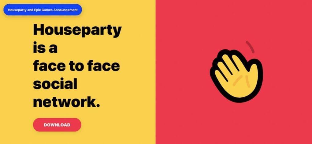 Houseparty app downland screen. Yellow waving hand on red screen.