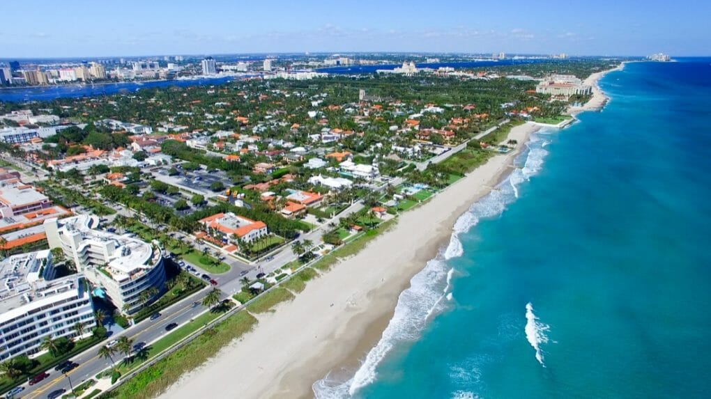 aerial view of Palm Beach in Florida