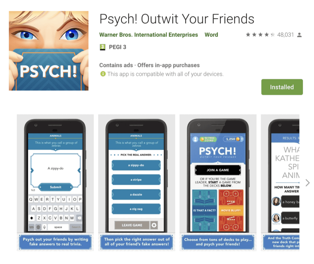 Psych Game App