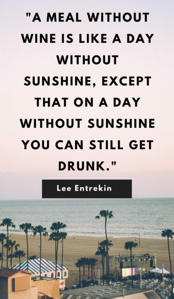 A meal without wine is like a day without sunshine, except that on a day without sunshine you can still get drunk. Sunshine quotes, quotes about sunshine, positive quotes, inspirational quotes, motivational quotes, sunny, beach, wellness, self help, calm, happy, smile, Instagram captions.