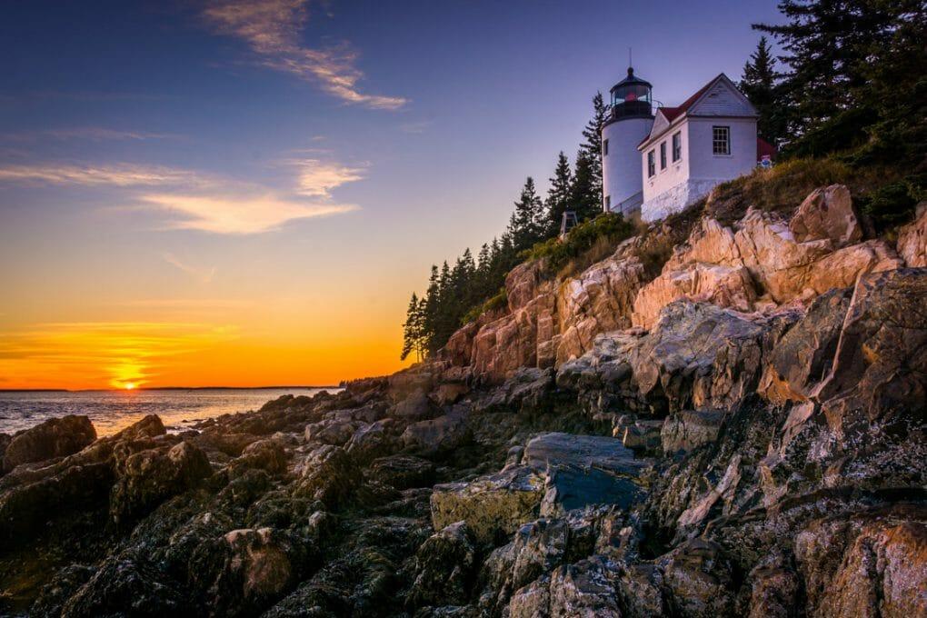 Acadia National Park. House on cliff.
