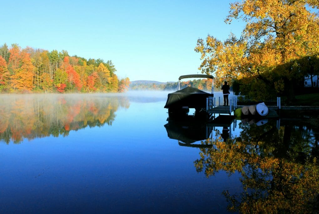 Berkshires. Lakes with tree and boat