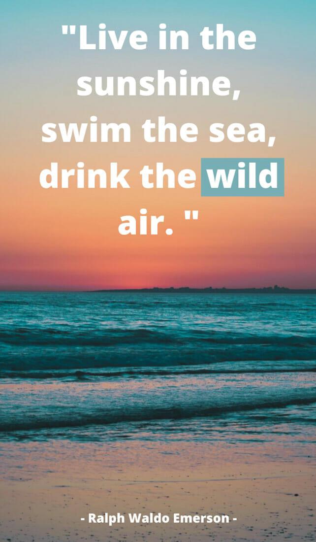 Live in the sunshine, swim the sea, drink the wild air. Sunshine quotes, quotes about sunshine, positive quotes, inspirational quotes, motivational quotes, sunny, beach, wellness, self help, calm, happy, smile, Instagram captions.