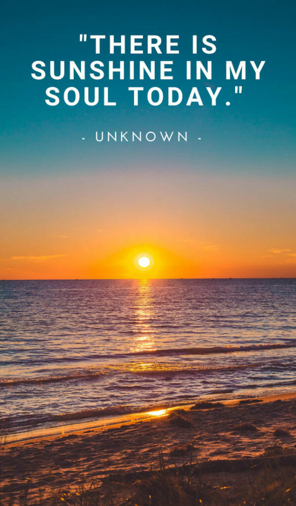 There is sunshine in my soul today. Sunshine quotes, quotes about sunshine, positive quotes, inspirational quotes, motivational quotes, sunny, beach, wellness, self help, calm, happy, smile, Instagram captions.