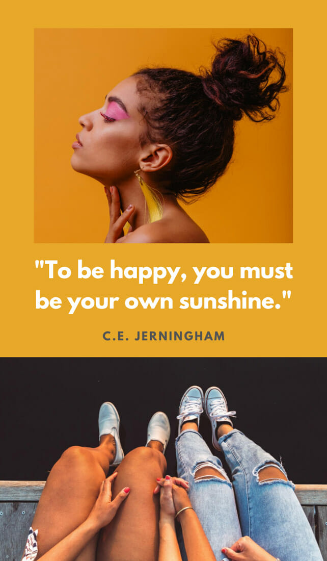 To be happy, you must be your own sunshine.. Sunshine quotes, quotes about sunshine, positive quotes, inspirational quotes, motivational quotes, sunny, beach, wellness, self help, calm, happy, smile, Instagram captions.