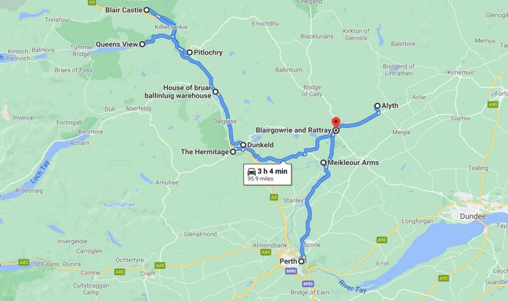 Perthshire Road Trip Map