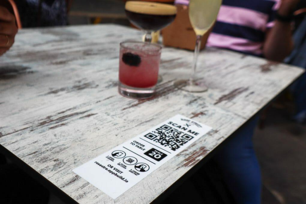 QR Scan menu Rose Street Gardens Bar Food Edinburgh