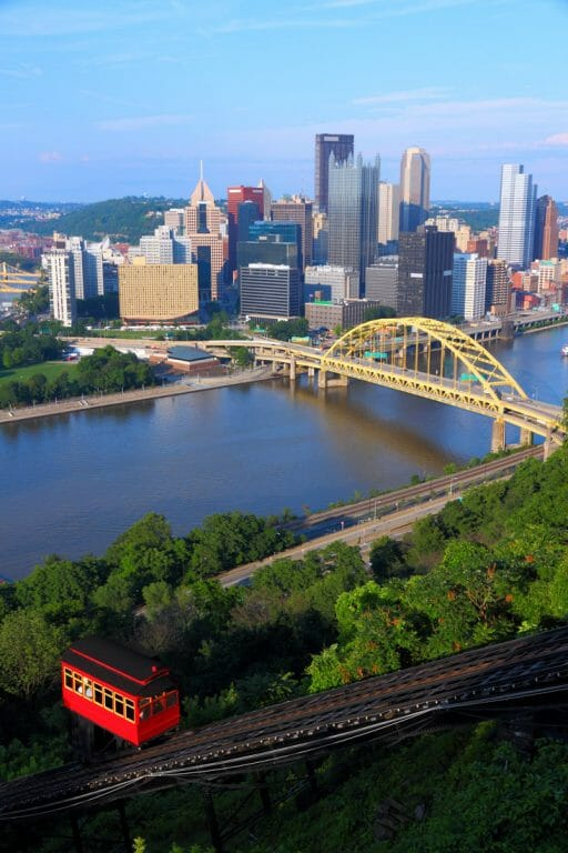Pittsburgh-Pennsylvania skyline with bridge and water