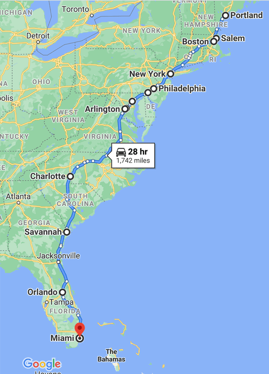 East coast road trip stops map