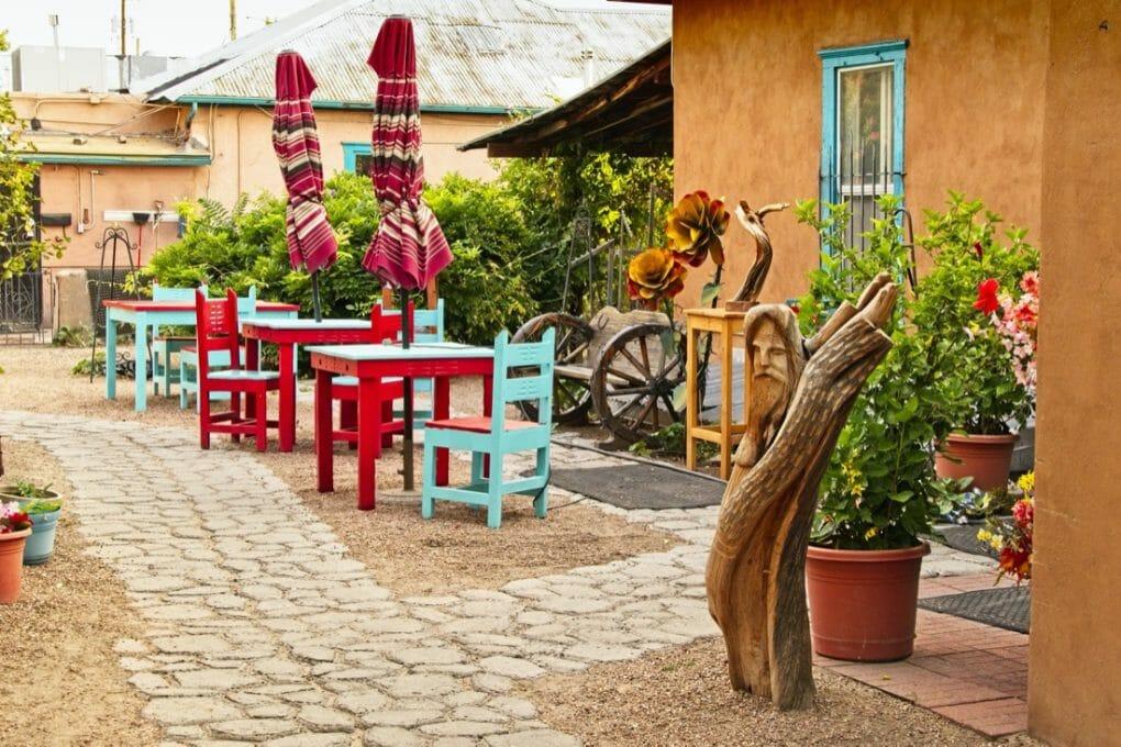 A cozy backyard patio in Old Town Albuquerque