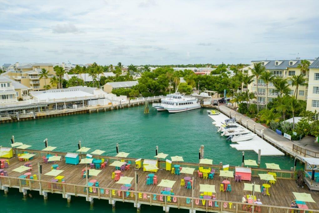 Aerial photo Sunset Pier Zero Duval Street Key West Florida USA