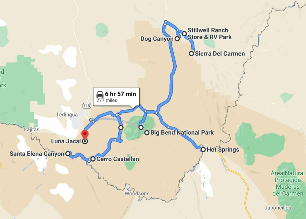 Big Bend Attractions Map