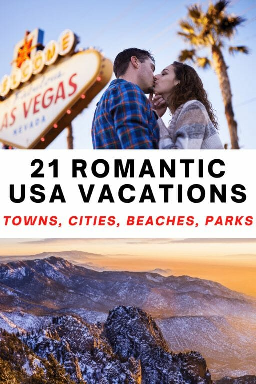 Romantic getaways in the US for couples in love! Cute towns, fun cities, beach vacations and national parks! This guide details the best places to visit for couples including honeymoon ideas.