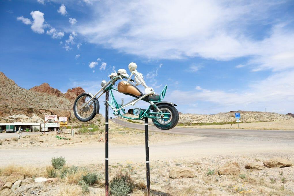Terlingua Ghost Town Skeleton on Bike Texas
