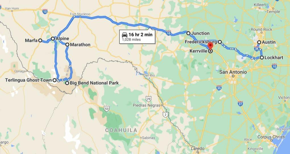 Texas Road Trip Map