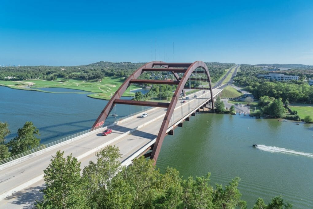 360 Bridge Austin. Over river.